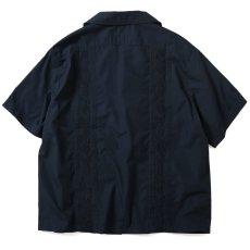 画像2: Rose Cuban S/S Shirt 半袖 キューバ シャツ embroidery 刺繍 ローズ Navy ネイビー (2)