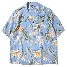 画像2: Bird Of Paradise S/S Aloha Shirt アロハ シャツ Blue (2)