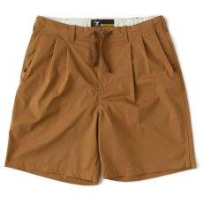 画像2: Polyhalf Wide Shorts ワイド ショーツ ベルトレス イージー SOLOTEX 2タック Camel Brown (2)