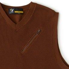 画像4: Kanokost V- Neck Vest カノコ Vネック ベスト ジップ ポケット Brown (4)