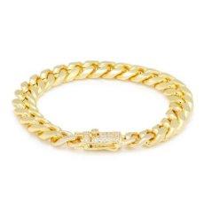 画像2: 10mm Miami Cuban Chain Bracelet ブレスレット ゴールド マイアミ キューバン ブレスレット Silver Gold シルバー ゴールド (2)