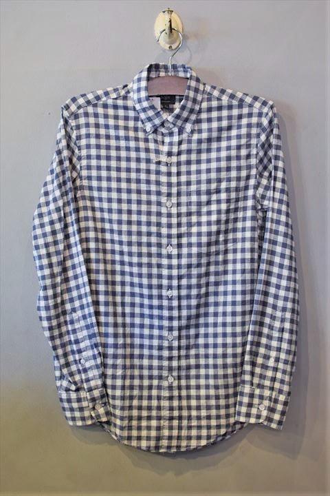 画像1: Cotton Linen Check L/S Shirts White Navy 長袖 シャツ (1)