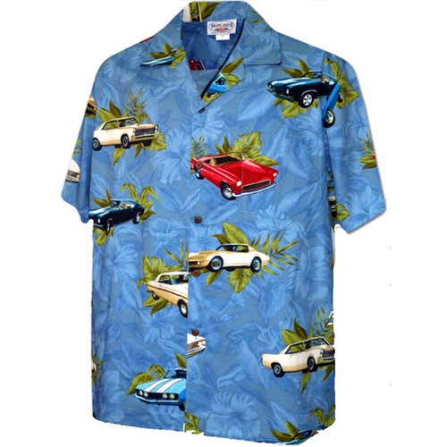 画像1: Pacific legend Aloha Shirts Allover Denim アロハシャツ ブラック ルート 66 (1)