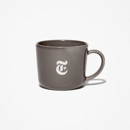 画像1: The NewYork Times(ニューヨーク タイムズ) Porcelain T Logo Mug Cup White Grey マグカップ コップ (1)