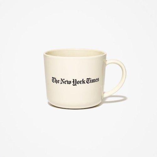 画像1: The NewYork Times(ニューヨーク タイムズ) Porcelain Logo Mug Cup White Grey マグカップ コップ (1)