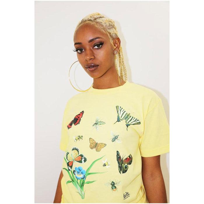 画像1: Felt(フェルト) Butterfly Bee S/S Tee Yellow Tシャツ (1)
