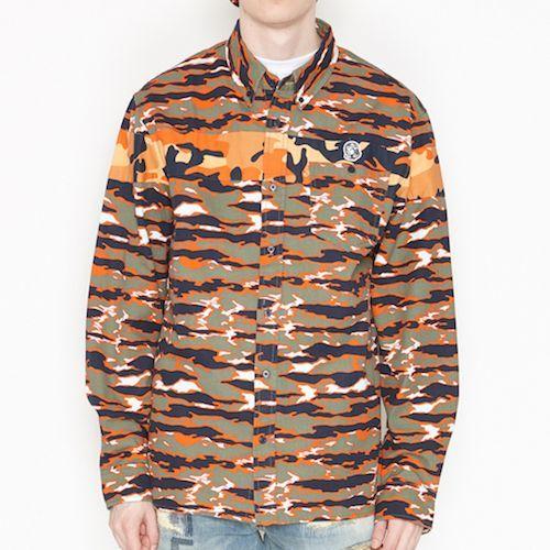 画像1: Billionaire Boys Club (ビリオネアボーイズクラブ)L/S BB Hidden Shirts Tiger Camo Orange Multi 切替 タイガー カモ (1)
