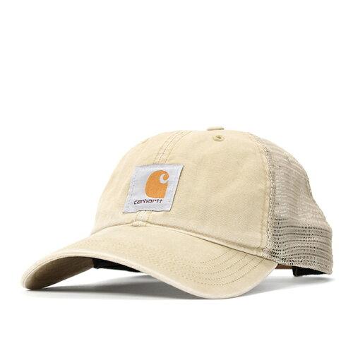 画像1: Carhartt (カーハート) Logo mesh Cap Wash Khaki Wash Black ウォッシュ ロゴ メッシュ キャップ (1)