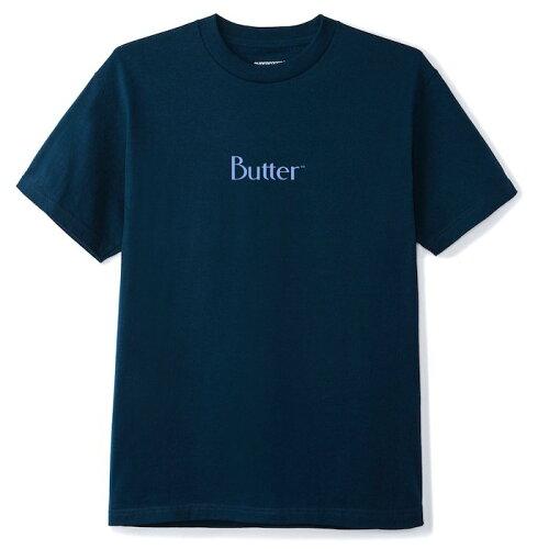 画像1: Butter Goods(バターグッズ)Puff Print Classic Logo S/S Tee Navy ネイビー Tシャツ 発砲 ロゴ (1)