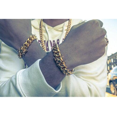 画像1: Golden Gilt(ゴールデン・ギルト) 14mm Miami Cuban Link Gold Bracelet ブレスレット ゴールド 20cm (1)