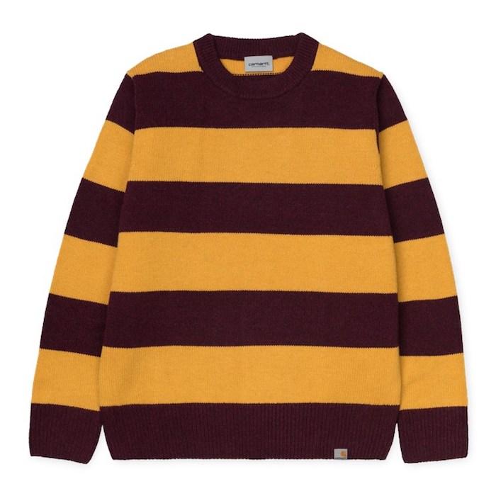 画像1: Carhartt WIP (カーハート ワークインプログレス) Alvin Sweater Stripe Knit Wear Border Maroon Wine Red Yellow ニット ボーダー セーター (1)