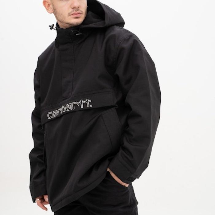 画像1: Carhartt WIP (カーハート ワークインプログレス) Visner Pullover Nylon Jacket Black プルオーバー ナイロン フリース ライナー ジャケット (1)