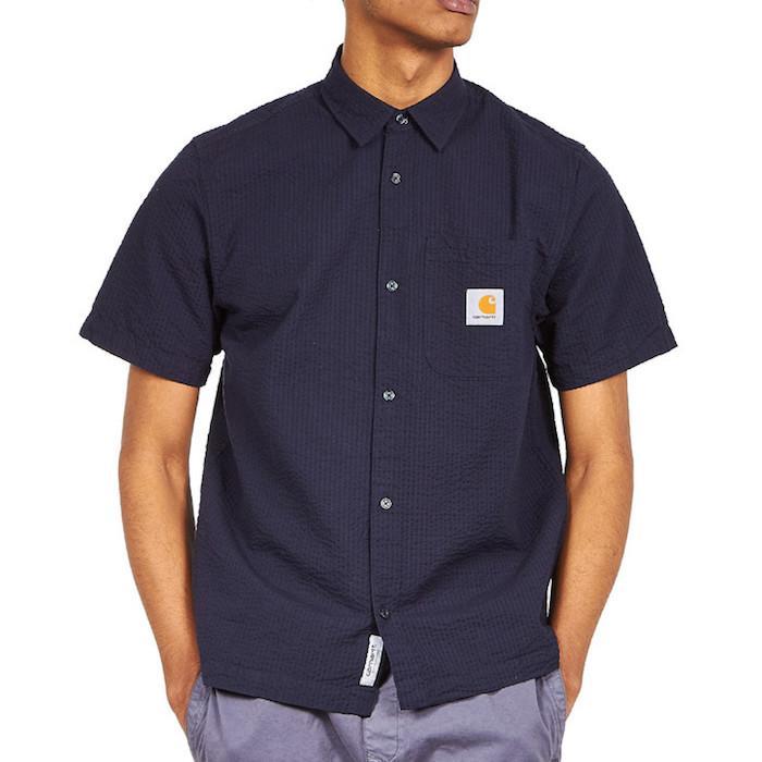 画像1: Carhartt WIP (カーハート ワークインプログレス) S/S Southfield Shirt Dark Navy シアサッカー 半袖 シャツ 4.1oz (1)