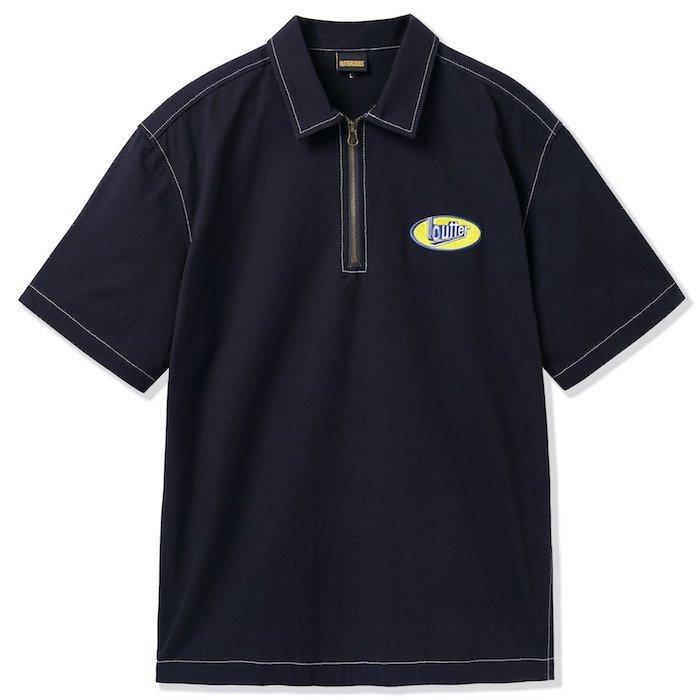 画像1: Butter Goods(バターグッズ)Work S/S Shirts Dark Navy Hickory Stripe 半袖 ワーク シャツ  (1)