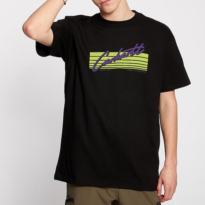 画像1: Carhartt WIP (カーハート ワークインプログレス) S/S Horizon Script Tee Black 半袖 Tシャツ (1)