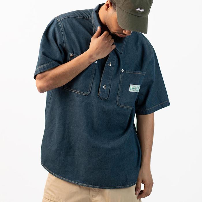 画像1: Denim Pullover S/S Shirt 半袖 デニム シャツ  (1)