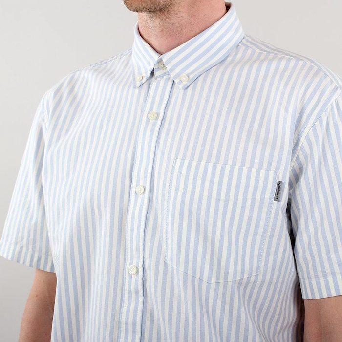 画像1: Simon S/S Shirt Stripe 半袖 ストライプ シャツ  (1)