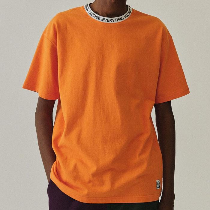 画像1: Logo jaguard Rib S/S Tee Trim Orange トリム ビッグシルエット ロゴ 半袖 Tシャツ (1)