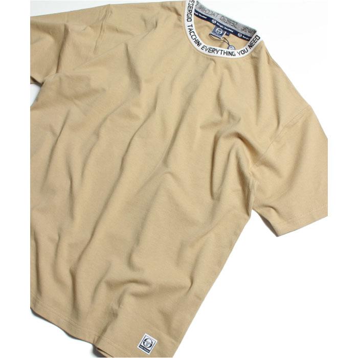 画像1: Sergio Tacchini (セルジオタッキーニ) Logo jaguard Rib S/S Tee Trim Beige トリム ビッグシルエット ロゴ 半袖 Tシャツ (1)