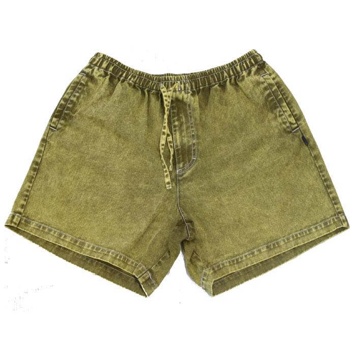画像1: Chemical Washed Color Denim Shorts スケミカル ウォッシュ カラー デニム ショーツ Yellow (1)