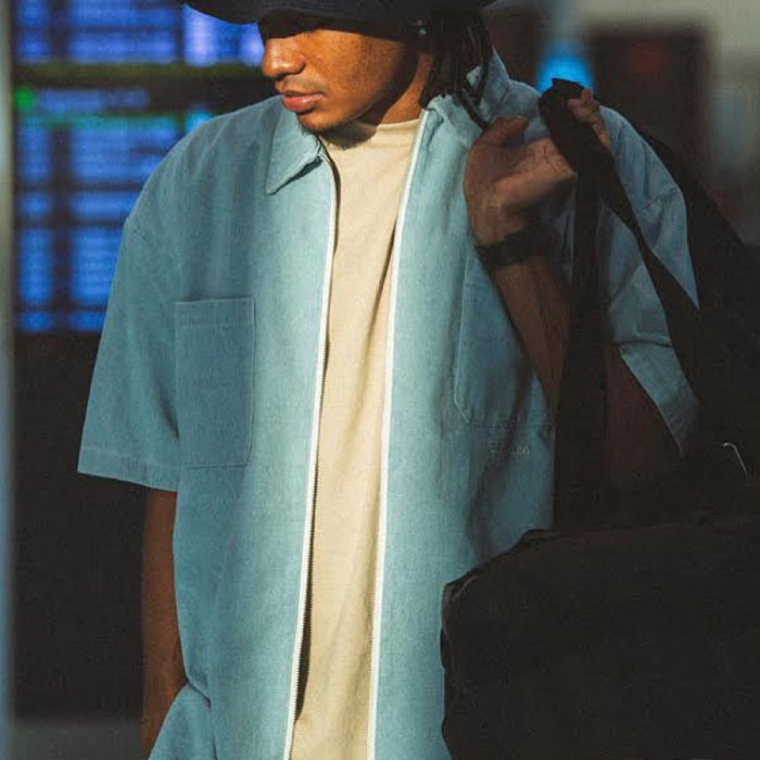 画像1: Interbreed(インターブリード) Indigo Zip Denim Shirts Ice Wash インディゴ ジップ デニム 半袖 シャツ (1)