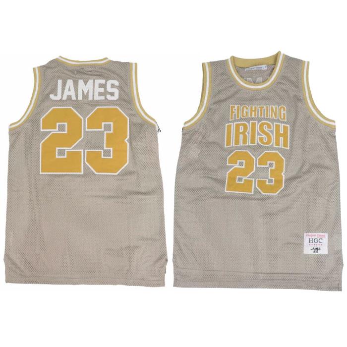 画像1: Headgear Classics(ヘッドギア クラシックス) LeBron James 23 St. Mary Fighting Irish Basketball Game Jersey Gold Beige レブロン ジェームズ High School バスケットボール ジャージ ゲーム シャツ 復刻 (1)