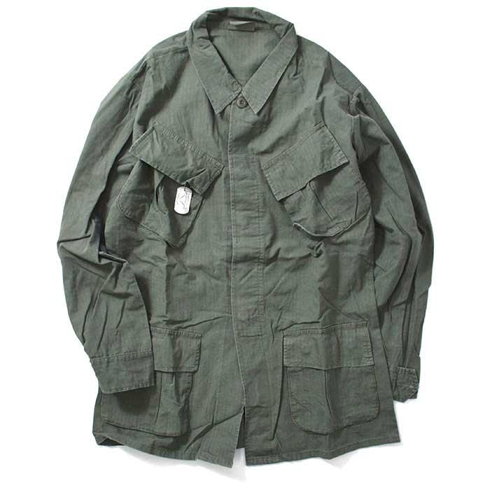 画像1: Vintage Vietnam Era 4Pocket Fatigue L/S Shirt Olive ビンテージ ベトナム シャツ ジャケット (1)