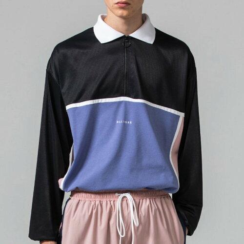 画像1: 【SALE】Tennis Jersey L/S Zip Polo Shirts ロンT ロング ポロ シャツ (1)