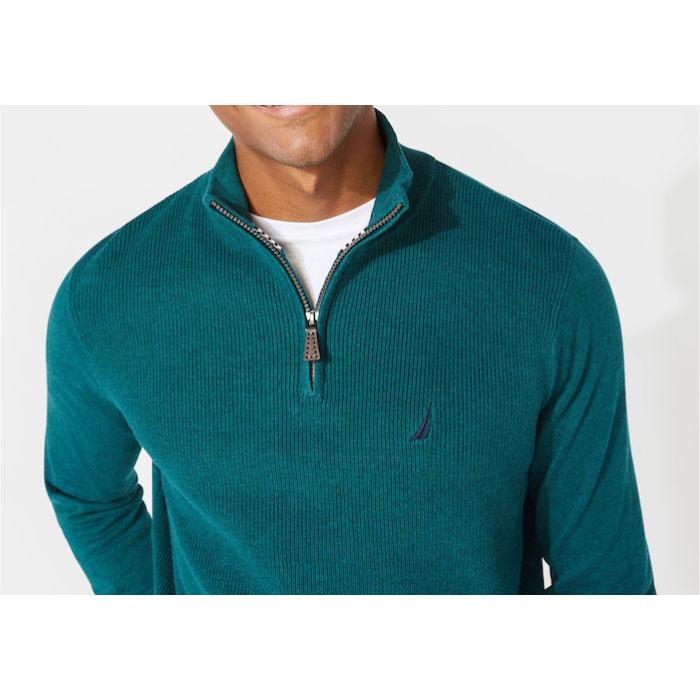画像1: Onepoint Logo 1/4 Zip Mock Neck Knit Sweater ワンポイント ロゴ ノーチカ モックネック ハイネック ハーフ ジップ ニット (1)