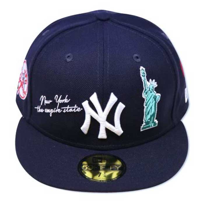 画像1: 59Fifty NewYork Yankees Cap Navy White ネイビー ホワイト ニューヨーク ヤンキース Liberty Logo 自由の女神 刺繍 デザイン キャップ 帽子 MLB 公式 Official 海外限定 (1)