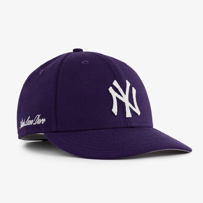 画像1: × Aime Leon dore(エイメ レオン ドレ) LP 59Fifty Cap NewYork Yankees Chain Stitch Purple ニューヨーク ヤンキース Kith ネイビー ホワイト (1)