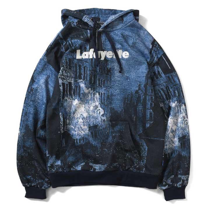 画像1: French War Allover Logo Hooded Sweatshirt プルオーバー パーカー Navy ネイビー by Lafayette ラファイエット  (1)