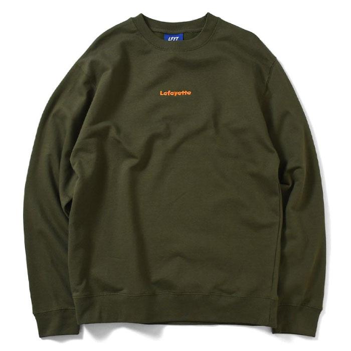 画像1: Small Logo Crewneck Sweatshirt クルーネック スウェット Olive Green オリーヴ グリーン by Lafayette ラファイエット  (1)