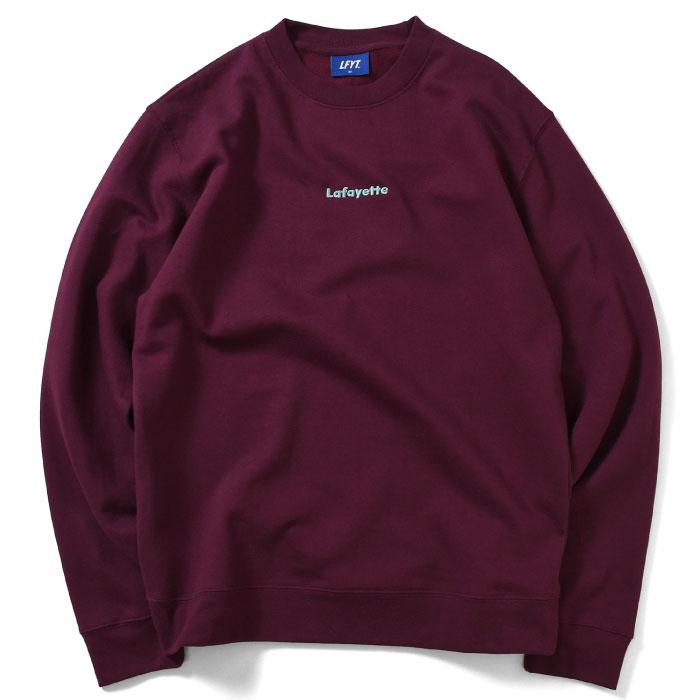 画像1: Small Logo Crewneck Sweatshirt クルーネック スウェット Burgundy バーガンディー by Lafayette ラファイエット  (1)