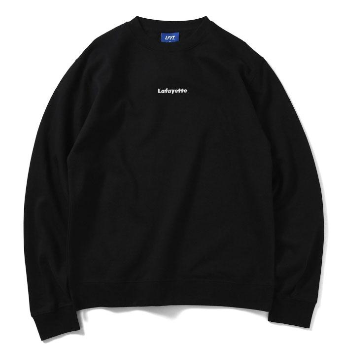 画像1: Small Logo Crewneck Sweatshirt クルーネック スウェット Black ブラック by Lafayette ラファイエット  (1)