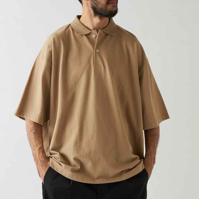 画像1: Bigpo S/S Polo Shirt Beige Navy Purple 半袖 オーバーサイズ ポロ シャツ (1)