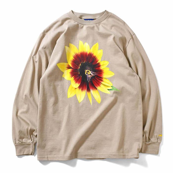 画像1: × dee Flower L/S Tee ディー フラワー 長袖 フォト Tシャツ Beige ベージュ by Lafayette ラファイエット  (1)