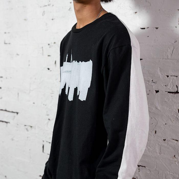 画像1: × dee Photo 2Tone L/S Tee ディー 長袖 フォト Tシャツ White Black ホワイト ブラック by Lafayette ラファイエット  (1)