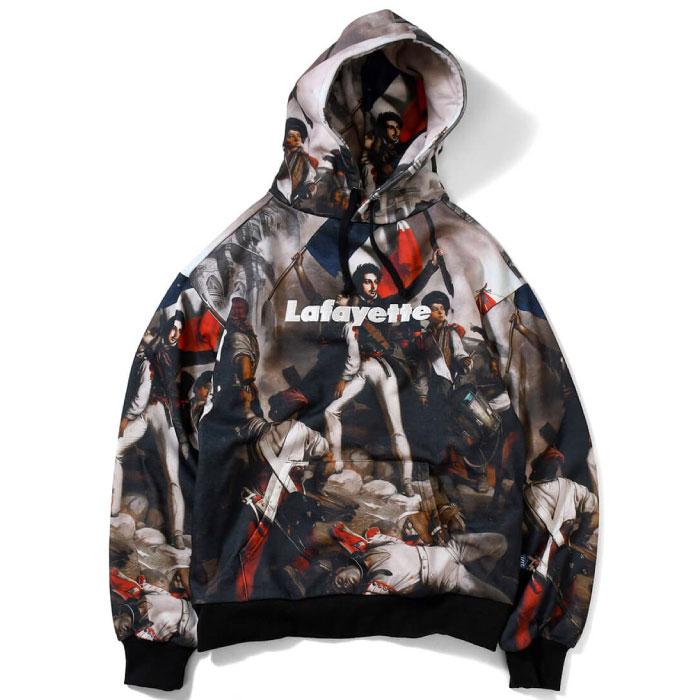 画像1: French Revolution Allover Lafayette Logo Hooded Sweatshirt プルオーバー スウェット パーカー フーディー by Lafayette ラファイエット  (1)