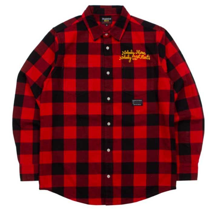 画像1: Checker Flannel L/S Button Down Shirt 長袖 チェッカー フランネル ボタン ダウン チェック シャツ Red レッド (1)