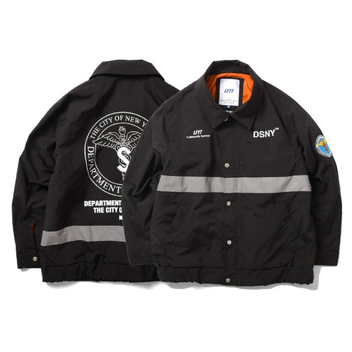 画像1: X DSNY Community Services Worker Jacket 刺繍 オフィシャル ロゴ ユニフォーム リフレクター ジャケット Black ブラック by Lafayette ラファイエット  (1)