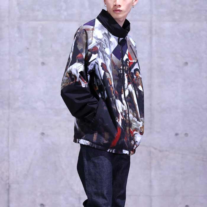 画像1: French Revolution Polyester Jacket ポリエステル トラック ジャケット 総柄 ロゴ 刺繍 by Lafayette ラファイエット  (1)