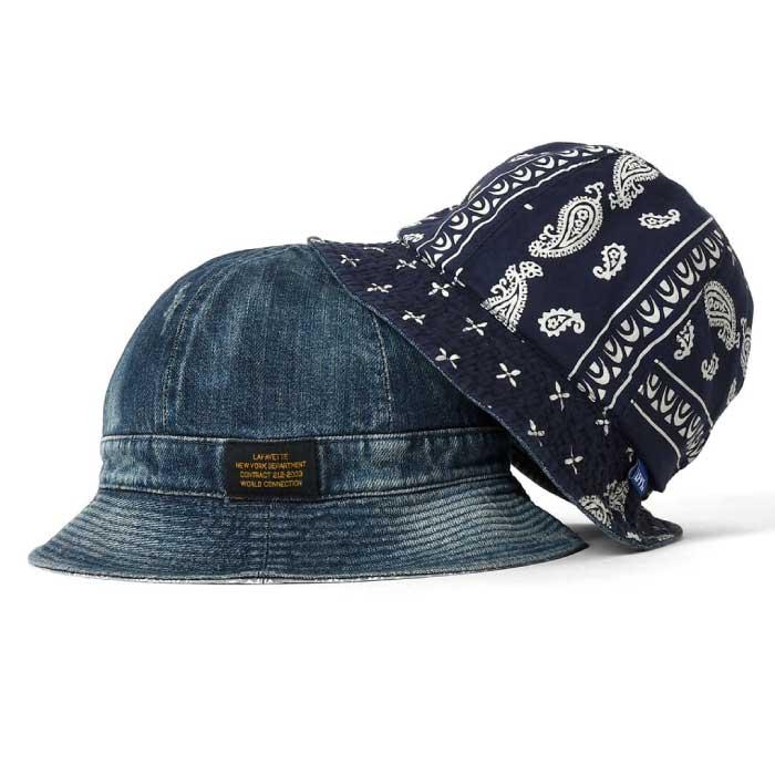 画像1: Washed Denim Reversible Metro Hat Paisley ペイズリー リバーシブル デニム メトロ ハット 帽子 by Lafayette ラファイエット  (1)