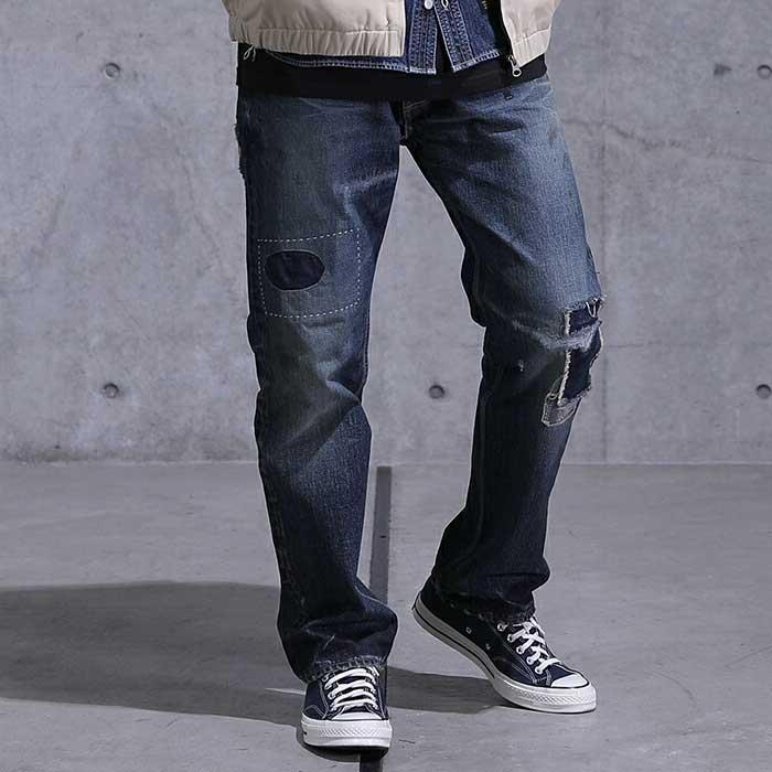 画像1: 5 Pocket Selvage Washed Denim Pants Standard Fit デニム パンツ セルビッジ ダメージ ビンテージ ウォッシュ Blue ブルー by Lafayette ラファイエット  (1)