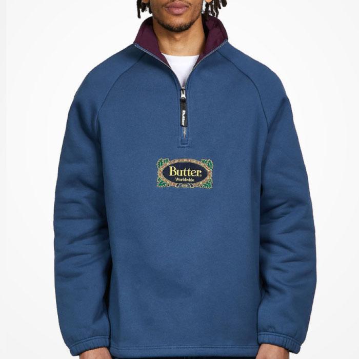 画像1: Crest 1/4 Zip Pullover Sweat ロゴ スウェット クレスト プルオーバー ハーフ ジップ Slate Navy ネイビー (1)