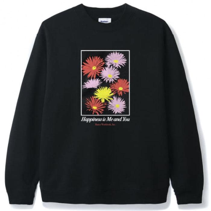 画像1: Happiness Crewneck Sweat ハピネス クルーネック スウェット シャツ 花 Flower フラワー Black ブラック (1)
