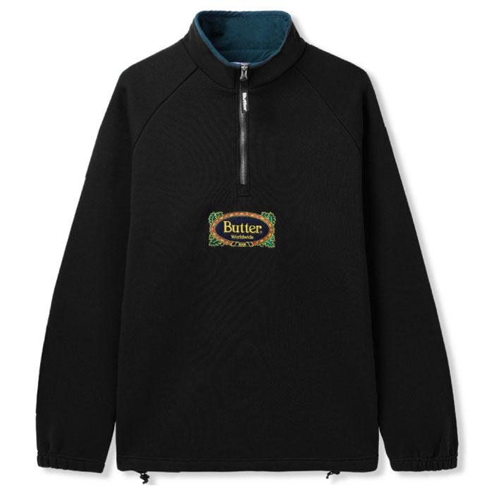画像1: Crest 1/4 Zip Pullover Sweat ロゴ スウェット クレスト プルオーバー ハーフ ジップ Black ブラック (1)