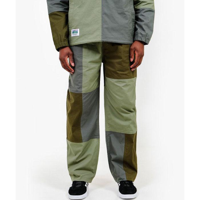 画像1: Patchwork Pants パッチワーク パンツ Olive Green オリーヴ グリーン (1)
