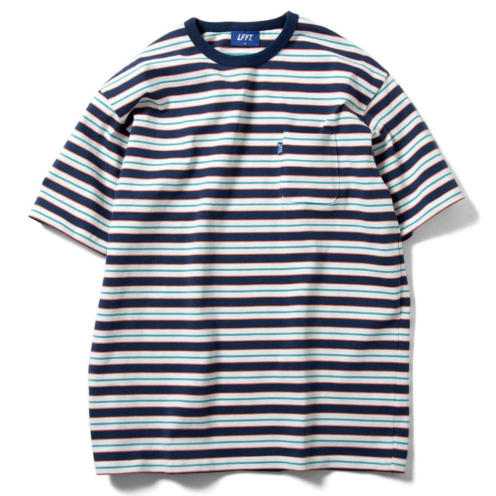画像1: Multi Striped S/S Pocket Tee マルチ ストライプ ボーダー ポケット 半袖 Tシャツ White ホワイト (1)