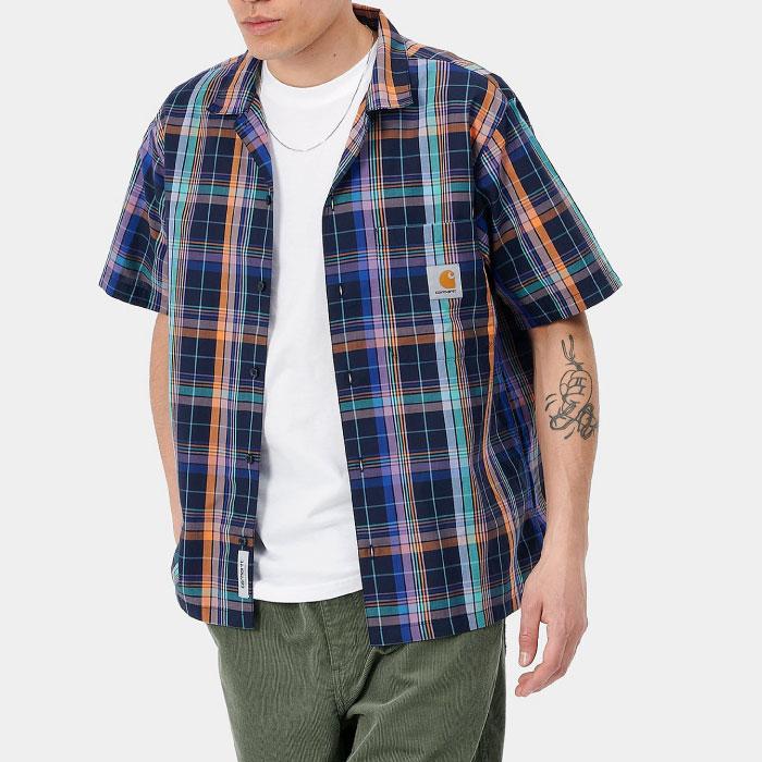 画像1: Vilay Check S/S Shirts オープン カラー チェック柄 半袖 シャツ コットン ポプリン チェスト ポケット Cロゴ スクエア ラベル Dark Navy ネイビー (1)